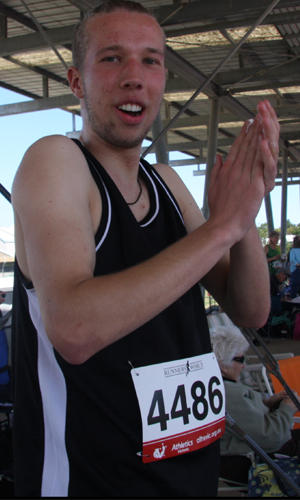New member Robbie, in good spirits after his 1500m race.