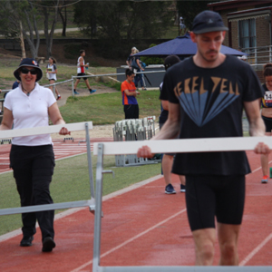 Ned helping with the hurdles